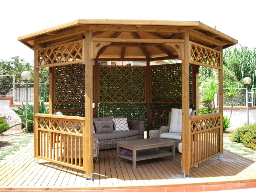 Vivereverde gazebo in legno gazebo in legno lamellare for Gazebo in legno usato