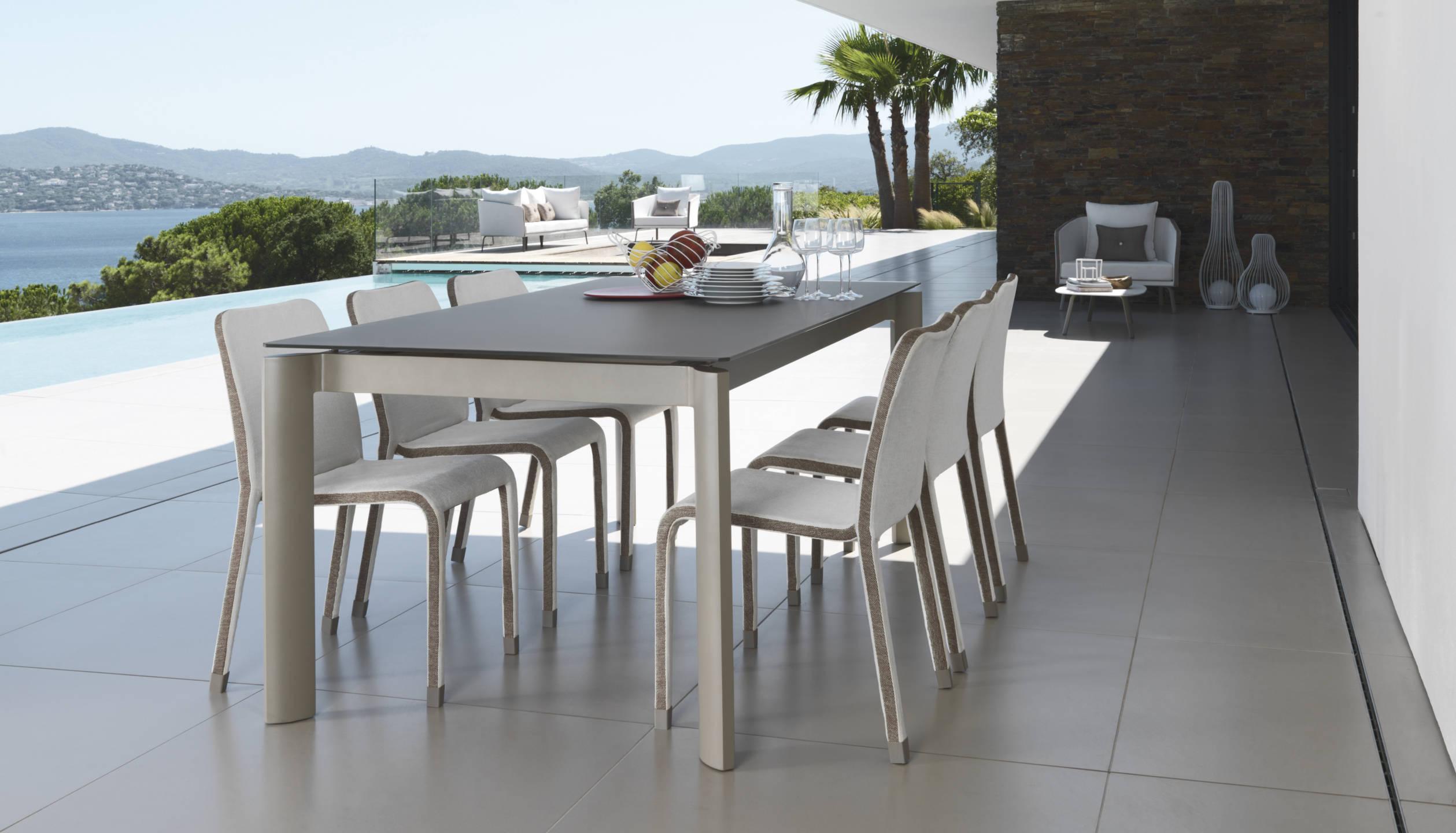 Tavoli Da Giardino In Ferro E Pietra.Vivereverde Tavolo Pranzo Allungabile 200 260 Milo Fabric Tavoli